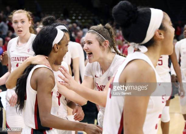 Members of the Stanford Cardinal celebrate at the end of the fourth quarter of a game between the Stanford Cardinal and the Colorado Buffaloes at...