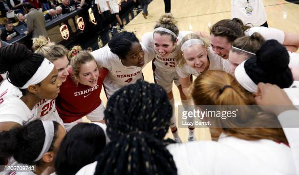 Members of the Stanford Cardinal huddle together at the end of a game between the Stanford Cardinal and the Colorado Buffaloes at Coors Events Center...