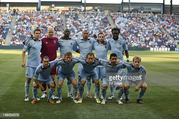 Members of the starting 11 from the Sporting Kansas City pose for a photo before a game against the Columbus Crew at Livestrong Sporting Park on July...
