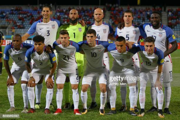 Members of the starting eleven for the United States mens national team pose for a group photo during the FIFA World Cup Qualifier match between...