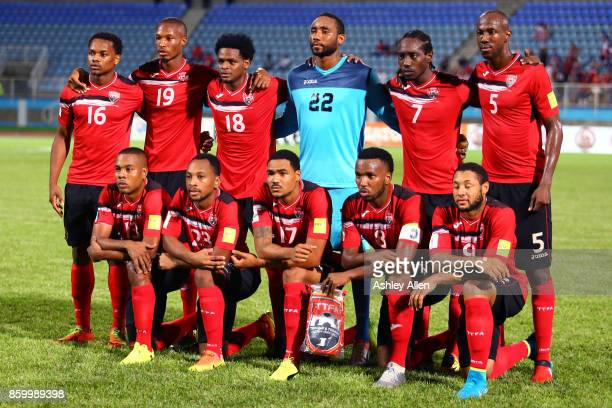 Members of the starting eleven for Trinidad and Tobago pose for a group photo during the FIFA World Cup Qualifier match between Trinidad and Tobago...