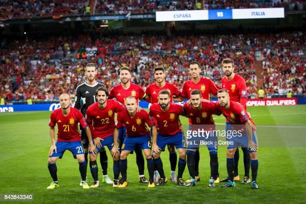 Members of the starting line up for Spain including David de Gea Dani Carvajal Gerard Pique Sergio Busquets Andres Iniesta Koke Captain Sergio Ramos...