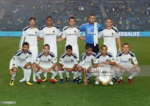 Members of the starting XI of the Los Angeles Galaxy pose for a group photo prior to the MLS match against the New England Revolution at The Home...