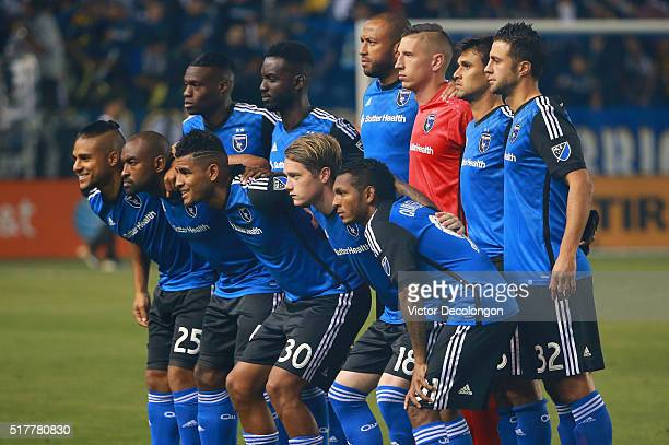 Members of the Starting XI of the San Jose Earthquakes pose for a group photo for their MLS match against the Los Angeles Galaxy at StubHub Center on...