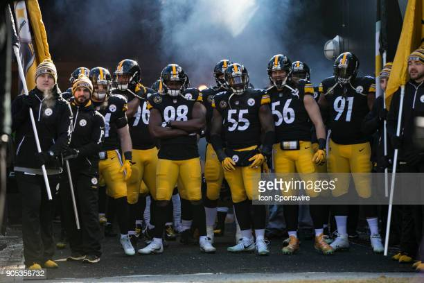 Members of the Steelers defense wait to be announced during the AFC Divisional Playoff game between the Jacksonville Jaguars and the Pittsburgh...