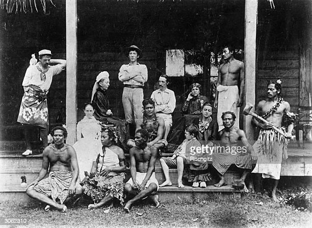Members of the Stevenson household in Vailima Western Samoa Joe Strong Margaret Stevenson Lloyd Osborne Robert Louis Stevenson Fanny Stevenson and...