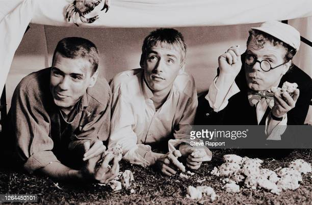 Members of the Style Council film the music video for 'The Lodger,' 9/2/1985. Pictured are, from left, Steve White, Paul Weller, and Mick Talbot.