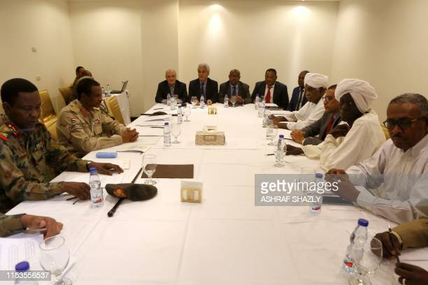 Members of the Sudanese Military Council and the protest movement the Alliance for Freedom and Change meet at the Corinthia Hotel in the capital...