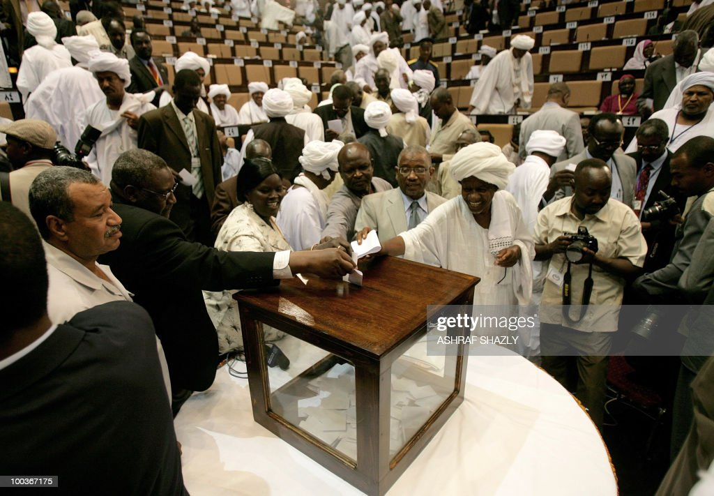 Members of the Sudanese Parliament vote for a new speaker during a gathering of the new of Parliament in Khartoum on May 24, 2010. Sudan's new parliament meet for the first time since the April legislative elections to elect the new speaker. The elections, the first multi-party polls in the war-ravaged country since 1986, were replete with technical problems, fraud charges and opposition boycotts according to the US-based Carter Centre that monitored the polls. Ahmed Ibrahim al-Tahir won the seat.