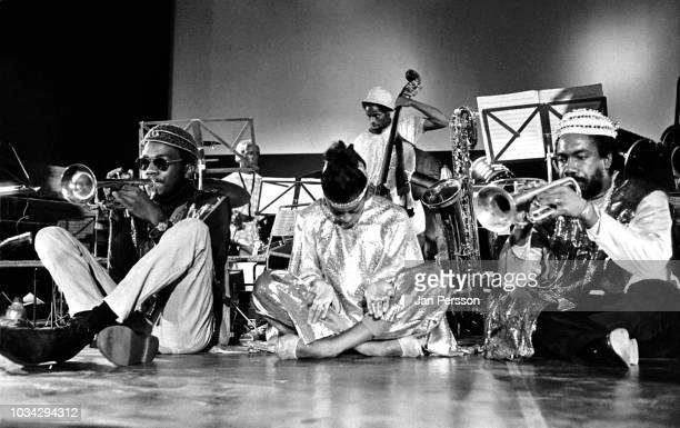 Members of The Sun Ra Arkestra Kwame Hadi Ife Toyo and Akh Tal Ebah Berliner Jazz Tage Germany November 1970