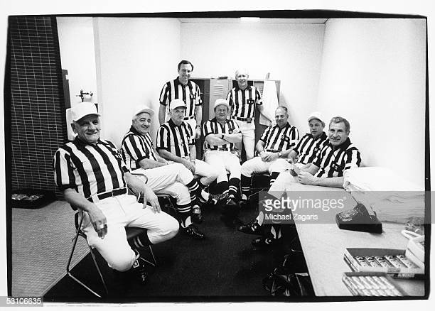 Members of the Super Bowl XV officiating crew pose for a photo prior to the game between the Oakland Raiders and Philadelphia Eagles at the Louisiana...