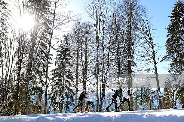 Members of the Sweden team practise ahead of the Sochi 2014 Winter Olympics at the Laura CrossCountry Ski and Biathlon Center on February 4 2014 in...
