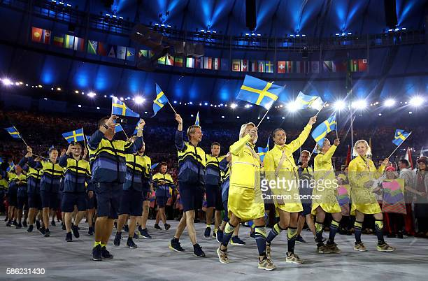 Members of the Sweden team take part during the Opening Ceremony of the Rio 2016 Olympic Games at Maracana Stadium on August 5 2016 in Rio de Janeiro...