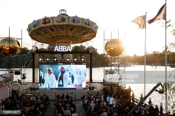 Members of the Swedish group ABBA are seen on a display during their Voyage event at Grona Lund, Stockholm, on September 2 prior to their...