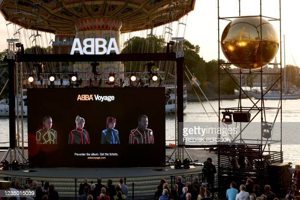 Members of the Swedish group ABBA are seen on a display during their Voyage event at Grona Lund, Stockholm, on September 2 during their presentation...