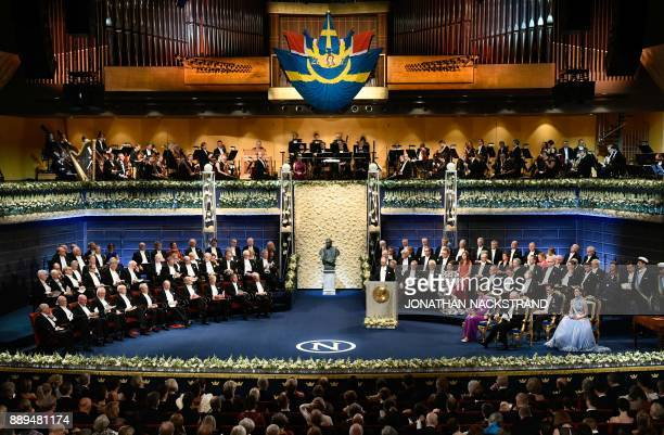Members of the Swedish Royal Family and Nobel laureates attend the opening of the Nobel award ceremony on December 10 2017 at the Concert Hall in...