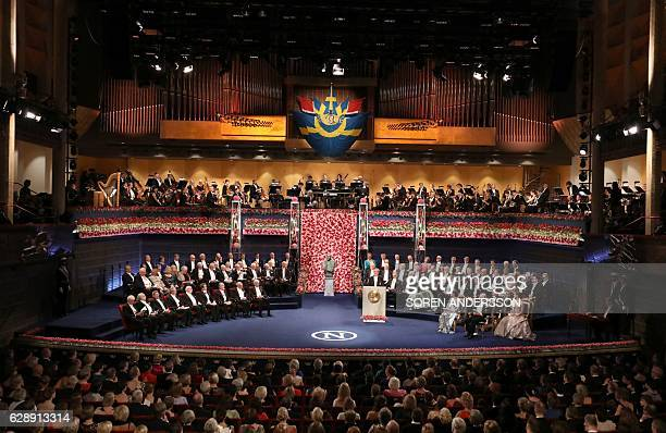 Members of the Swedish Royal family Nobel Prize laureates and guests attend the award ceremony of the Nobel Prizes in medicine economics physics and...