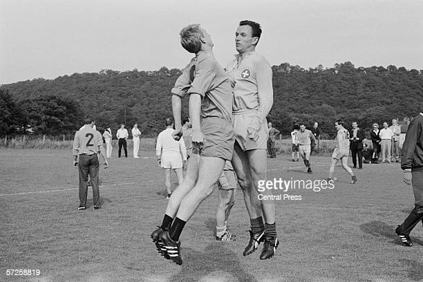 Members of the Swiss football team training at Sheffield University playing fields during the 1966 World Cup in England July 1966