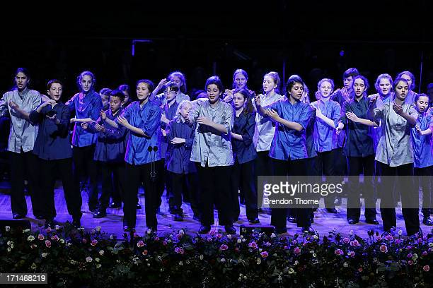 Members of the Sydney Children's Choir perform on stage during a state memorial service for the late Hazel Hawke at the Sydney Opera House on June 25...