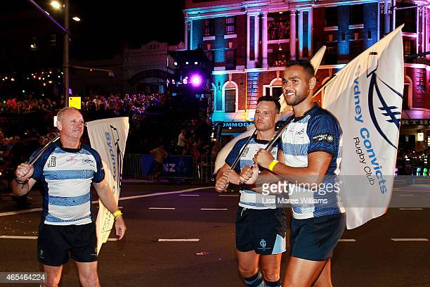 Members of the Sydney Convicts Rugby Club make their way along Oxford Street during the 2015 Sydney Gay Lesbian Mardi Gras Parade on March 7 2015 in...