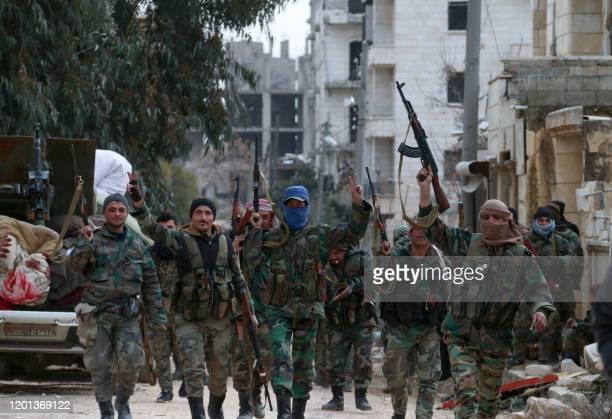 Members of the Syrian army deploy in the al-Rashidin 1 district, in Aleppo's southwestern countryside, on February 16, 2020. - Syrian regime forces...