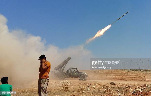 Members of the Syrian oppositions make preparations to launch missile attack at Assad Regime controlled Al Nayrab Military Airport in Aleppo Syria on...