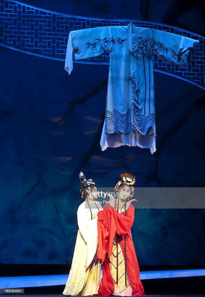 Members of the Taiwan Guoguang Opera Company perform scenes from the 'Flowing Sleeves and Rouge' as part of the Taiwan International Festival of the Arts at the National Theatre on March 7, 2013 in Taipei, Taiwan.
