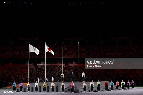 Members of the Takarazuka Revue are seeduring the Closing Ceremony of the Tokyo 2020 Olympic Games at Olympic Stadium on August 08, 2021 in Tokyo,...