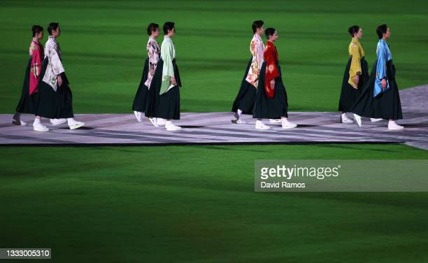 Members of the Takarazuka Revue are seen during the Closing Ceremony of the Tokyo 2020 Olympic Games at Olympic Stadium on August 08, 2021 in Tokyo,...