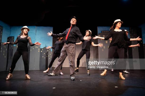 Members of The Tapitalists rehearse Tapwater on stage at Fremont Centre Theatre on November 07 2019 in Pasadena California