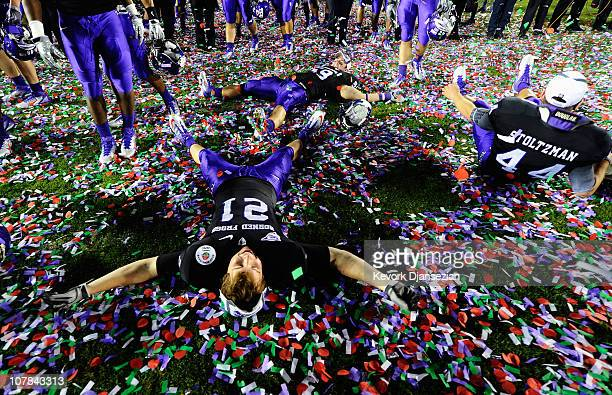 Members of the TCU Horned Frogs celebrate on the field after defeating the Wisconsin Badgers 21-19 in the 97th Rose Bowl game on January 1, 2011 in...
