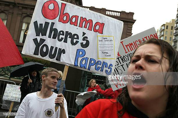 Members of the Tea Party movement protest outside of the Fairmont Hotel before US President Barack Obama arrives for a fundraiser May 25 2010 in San...