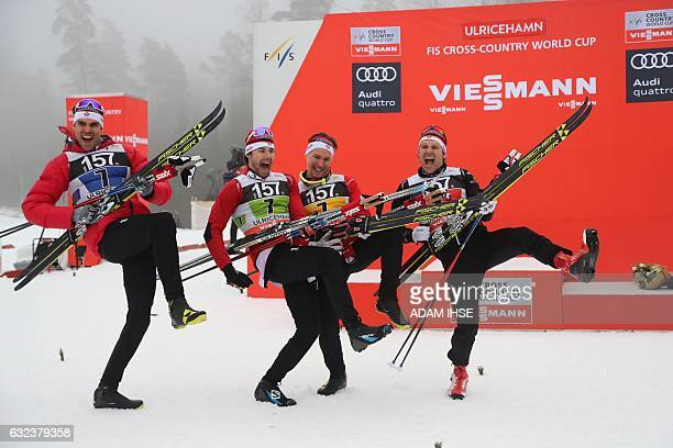 Members of the team of Canada Len Valjas, Alex Harvey, Knute Johnsgaard and Devon Kershaw celebrate after placing third in the men's 4x7,5 km relay...