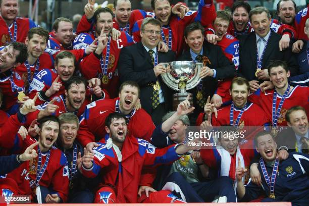 Members of the team Russia celebrate their victory against Canada at the IIHF World Championship Final at the PostFinance Arena on May 10, 2009 in...