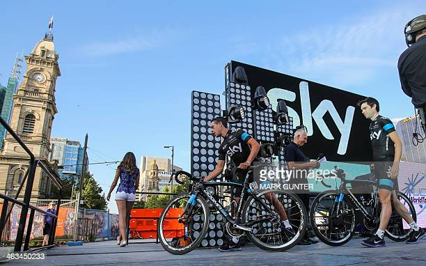 Members of the Team Sky team take part in the Tour Down Under cycling event teams presentation in Adelaide on January 18 2014 Bushfires may force the...