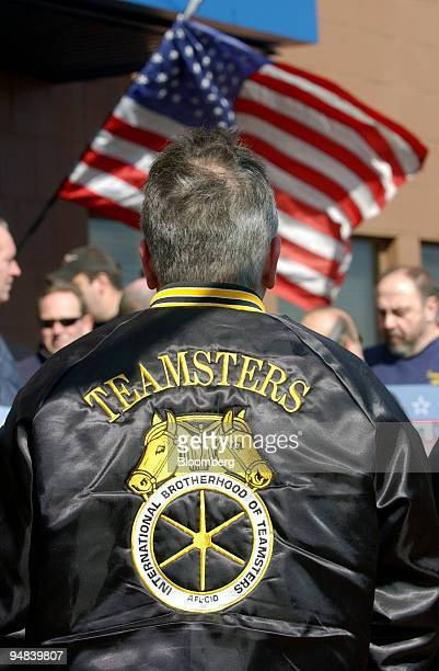 Members of the Teamsters gather outside the Philadelphia Regional Port Authority offices before marching to the Tioga Marine Terminal for a Teamsters...