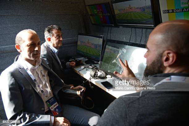 Members of the technical team check the VAR system on the TV van before the beginning if the international friendly match between Italy U19 and...