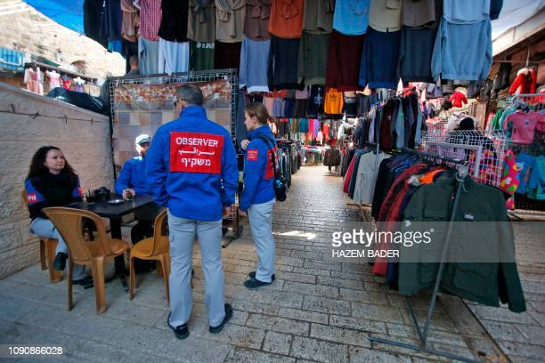 Members of the Temporary International Presence in Hebron stand in the old city in the West Bank city on January 29 2019 Israeli Prime Minister...