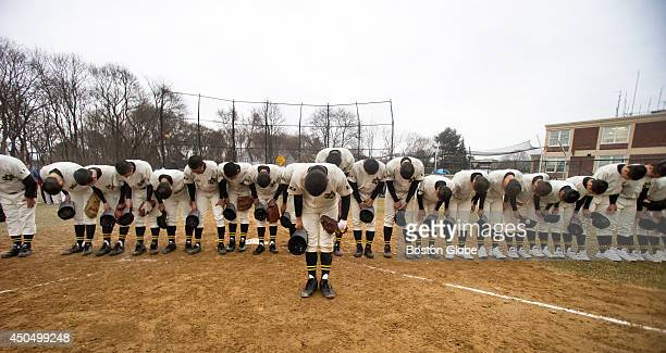 Members of the Tennoji High School baseball team from Osaka, Japan played an exhibition game against defending state champions Hingham High School at...