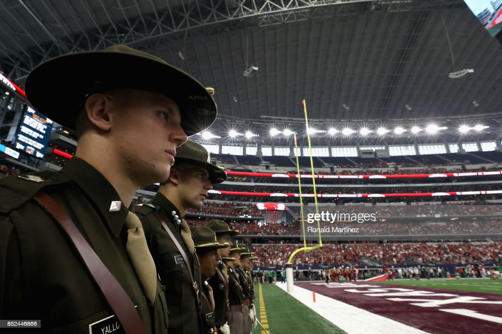 Members of the Texas A&M Aggies Corp of Cadets at AT&T Stadium on September 23, 2017 in Arlington, Texas.