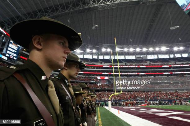 Members of the Texas AM Aggies Corp of Cadets at ATT Stadium on September 23 2017 in Arlington Texas