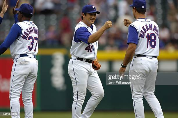 Members of the Texas Rangers celebrate following the game against the Toronto Blue Jays at Rangers Ballpark in Arlington in Arlington Texas on May 6...