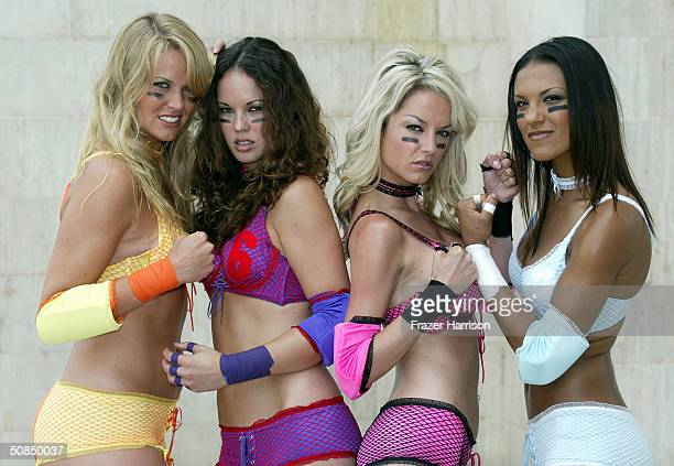 Members of the The four Lingerie Bowl teams Jenmifer Freeman of the Dallas Desire Chelsea Rangsikitpho of the Chicago Bliss Rachel Myers of the New...