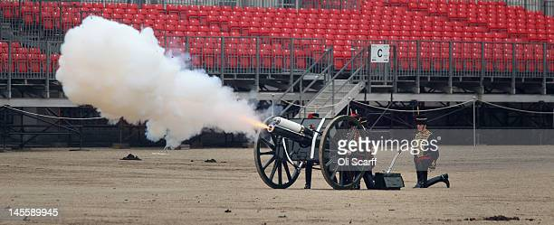 Members of the The King's Troop Royal Horse Artillery fire a 41gun Royal Salute in Horse Guards Parade to mark the anniversary of Her Majesty Queen...