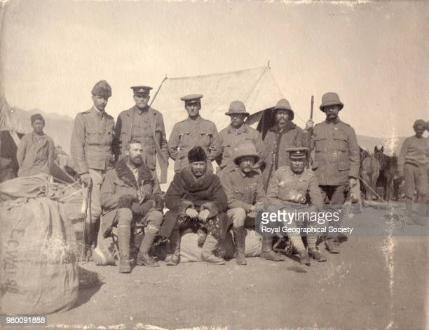 Members of the Tibet Mission Force Original caption 'Ray O'Connor Dunlop Igybilden Col Hogge Waddell Walsh Younghusband G O C Brotherton The staff...