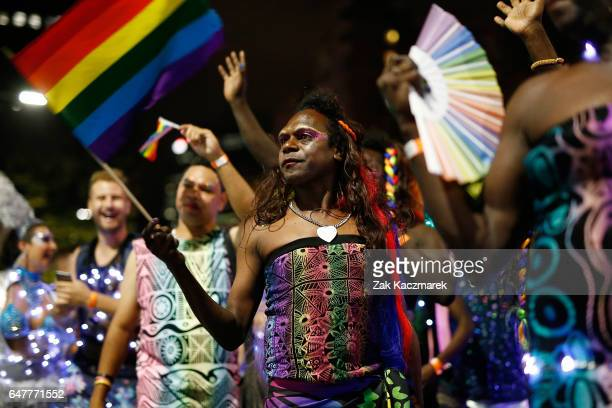 Members of the Tiwi Islands transgender community attend the Sydney Gay and Lesbian Mardi Gras parade on March 4 2017 in Sydney Australia After a...