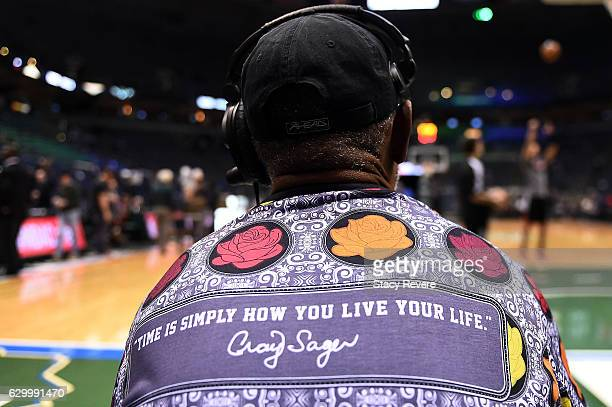 Members of the TNT crew wear shirts honoring the late Craig Sager prior to a game between the Milwaukee Bucks and the Chicago Bulls at the BMO Harris...