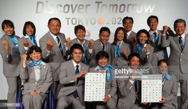 Members of the Tokyo 2020 Bid Committee pose after a press conference ahead of the 125th IOC Session at Sheraton Buenos Aires Hotel and Conveention...