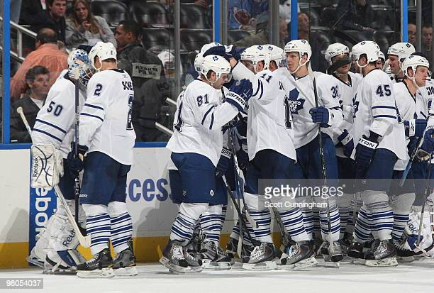 Members of the Toronto Maple Leafs celebrate after the game against the Atlanta Thrashers at Philips Arena on March 25 2010 in Atlanta Georgia
