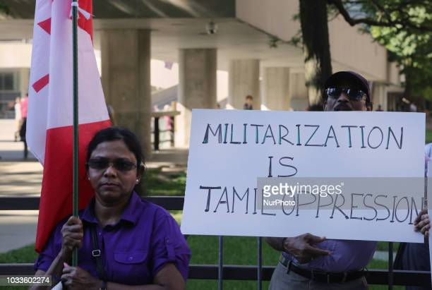 Members of the Transnational Government of Tamil Eelam protest against the Mahaweli Irrigation Project and the occupation of traditional Tamil lands...
